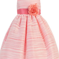 Coral Striped Organza Overlay Easter Spring Dress w Satin Sash 3M to Girls 10