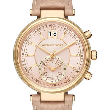 MICHAEL Michael Kors 'Sawyer' Leather Strap Watch, 39mm