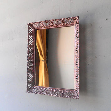 89109bc3d50 Vintage Mirror Tray or Wall Mirror in Decorative Rose Gold 11 by 9 Inch Metal  Frame