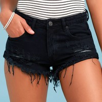 Daily Routine Washed Black Distressed Denim Shorts