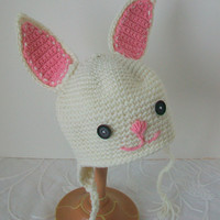 Infant hat Easter baby Spring new birth Bunny baby hat Pink and white Hand crocheted Small wonder