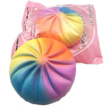 Squishyfun Rainbow Bun Colorful Jumbo 13cm Squishy Slow Rising With Packaging Collection Gift Toy