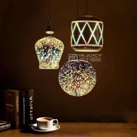 Modern E27 LED Glass 3D Reflector Fireworks Ball Ceiling Light Lamp Fixtures Droplight Chandeliers Home Bedroom Hall Bar Decor