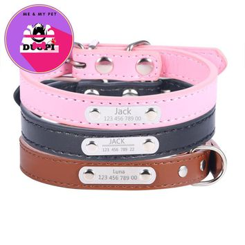 Duopi New PU Leather Personalized Laser Dog Collars Free Engraving Metal Buckle Custom Cat Puppy Pet Name Phone ID Collar