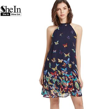 SheIn Summer Dress 2017 Womens Clothing Boho Dress Womens Navy Butterfly Print Halter Neck Sleeveless A Line Dress