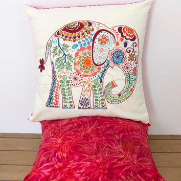 "Elephant Pillow- 12""x12"" Decorative Throw Pillow Cover with pink paisley elephant appliqué and bright pink batik backing"