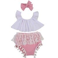 Baby Girl Clothes Set 2017 Hot Sale 3pcs Sweet Infant Kids Baby Girls Clothes RuffleTops+Lace Tassel Pants Outfits Set