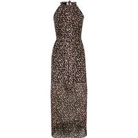 River Island Womens Brown leopard print waisted maxi dress