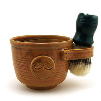 Brown Shaving Mug with a Mustache by MiriHardyPottery on Etsy