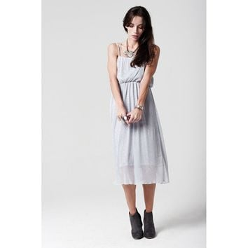 silver Midi Dress with Cami Strap