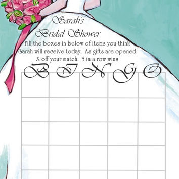 INSTANT DOWNLOAD Blue Bride Bridal Shower Bingo Cards