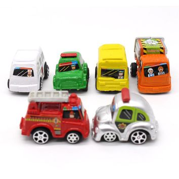 Mini Hot Wheels Toy Car 6pcs in 1 bag Model Miniature Car Toy Pull Back Bus Truck Toys For Children Kids Boy Gifts Multi Color