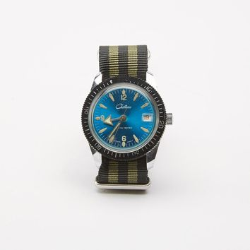 Vintage Blue Chateau Diver's Watch with Striped Military Band