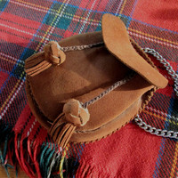 Day Sporran, Vintage Suede Leather Sporran, Scottish kilt sporran, Highland dress, Leather pouch, leather bag