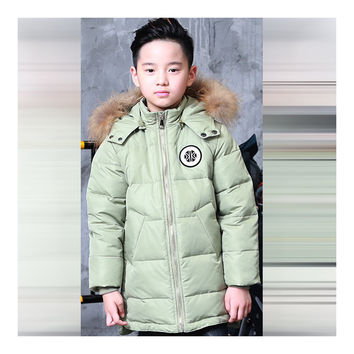 Winter Middle Long Down Coat Boy Children Garments   green    140cm