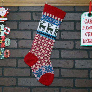 Christmas Stocking Hand Knit in Cherry Red, Fair Isle Knit Stocking with Green Reindeer and Teal Snowflakes, can be personalized, gift idea