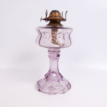 Antique Sun Purple Glass Oil Lamp Eagle Kerosene Lamp Lavender Glass Humingbird Design Embossed Floral Brass Burner RARE Amethyst Hurricane