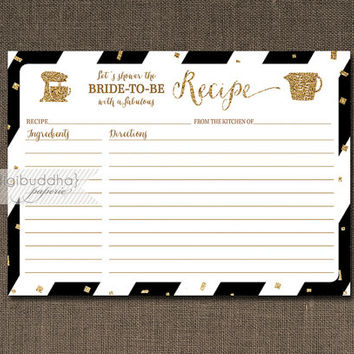 Black & Gold Recipe Card INSTANT DOWNLOAD Gold Glitter Black and White Bridal Shower 5x7 DIY Printable or Printed Fill-In Recipe- Stella