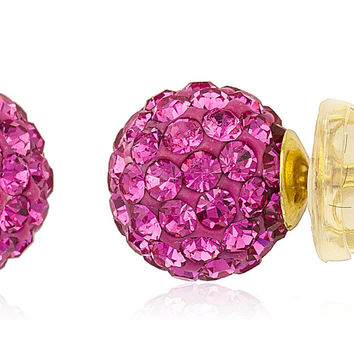 14K Yellow Gold Fuchsia Preciosas Stud Earrings with Silicone Back - 5mm and 8mm Available (8 Millimeters)
