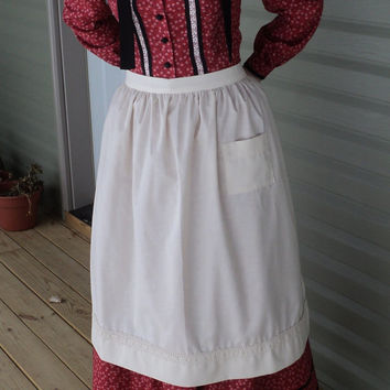 Custom old fashioned cotton apron pioneer wild west Civil Colonial Revolutionary War Victorian old-fashioned maid costumes (made to order)