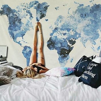 Blue Watercolor Map Boho Fabric Wall Tapestry