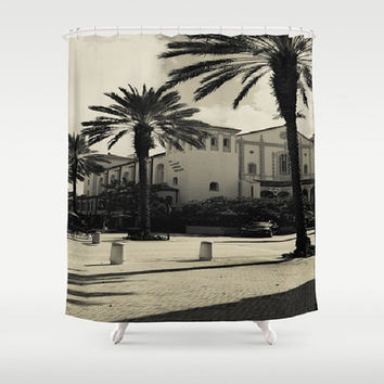Black and White Vintage Photograph Shower Curtain Black and White Architecture Shower Curtain Spanish Architecture Shower Curtain
