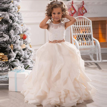 Fashion White/Ivory Flower Girl Dresses 2016 Tank Appliques Beading Ruffles Ball Gown Kids Evening Gowns