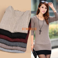 Women Casual Long Sleeve Knitted Pullover Tops Loose Sweater Knitwear Jumper Hot = 1920224388