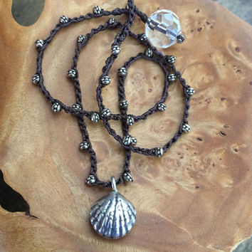 Silver Seashell Knotted Crochet Necklace, Sea shells by the Seashore Beaded Jewelry by Two Silver Sisters