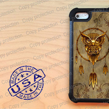 SALE Owl dream catcher iPhone 5 case with extra protection - Dreamcatcher iPhone 5 hard case, 2 piece rubber lining case
