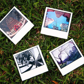 New York City Polaroid Coasters  - Set of 4 Ceramic Drink Coasters