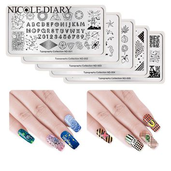 NICOLE DIARY 1Pc Nail Stamping Image Plate Typograhy Tattoo Leaf Rose Feather Nail Art Stamp Template Stencil Nails Tool