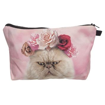 Pink roses cat 3D Printing cosmetic bag