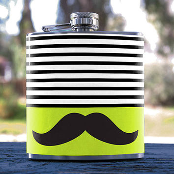 Handlebar Mustache, Hipster/Stripes Style, Best Hip Flask 6oz, for Anniversaries, Weddings, Gifts, Birthday, Bridesmaid, Groomsmen & more!