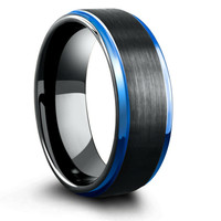 8mm Blue & Black Mens Tungsten Wedding Band With Step Down Edges