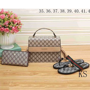 GUCCI 2018 new women's fashion three-piece high-quality handbag clutch bag shoes F-KSPJ-BBDL