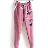 Drawstring Sweatpants with Badge and Fleece Lining