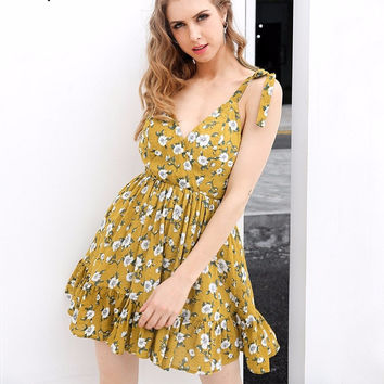 Yellow Floral Print V-Neck Backless Padded Short Dress