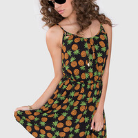 Fresh + Fruity Pineapple Dress - Black
