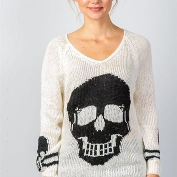Cream with Black Contrast Skull Printed Sweater
