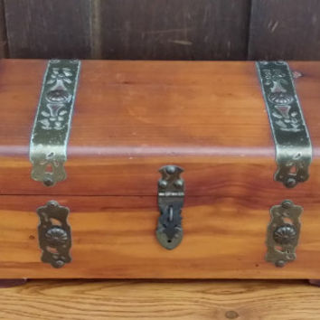 Vintage Wood Mini Cedar Chest Style Jewelry Box with Metal Accents Great For Jewelry Storage and Display Treasure Chest