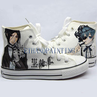 Black Butler Paint on Converse Sneakers, Hand Painting Converse Sneakers Kuroshitsuji Sebastian Michaelis and Ciel Phantomhive