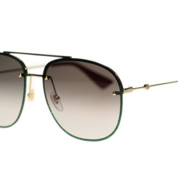 Gucci Women Sunglasses GG0227S 001 Gold Green Grey Gradient Lens 62mm Authentic