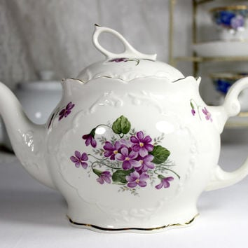 Crown Dorset Tea Pot Teapot - Violets Decorated Porcelain Teapot  12434