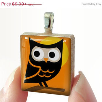 SALE PRICE - Moon Owl : pendant jewelry from a Scrabble tile. Necklace Scrabble piece. Home Studio jewelry gift present.