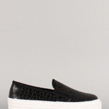 Wild Diva Lounge Crocodile Leatherette Slip On Flatform Sneaker