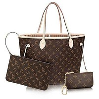 Louis Vuitton LV Women Shopping Leather Tote Handbag Shoulder Bag Wallet Clutch Bag Wristlet Set Two-Piece Key Pouch-1