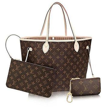 LV Women Shopping Leather Tote Handbag Shoulder Bag Wallet Clutch Bag Wristlet Set Two-Piece Key Pouch-1