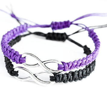 Infinity Friendship Bracelets Purple and Black Macrame
