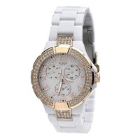 GUESS Women's W14540L1 Round Case Gold Dial Double Crystal Bezel Watch